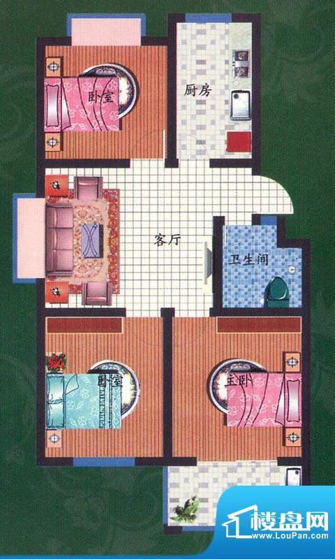 金都庄园多层标准层面积:83.00平米