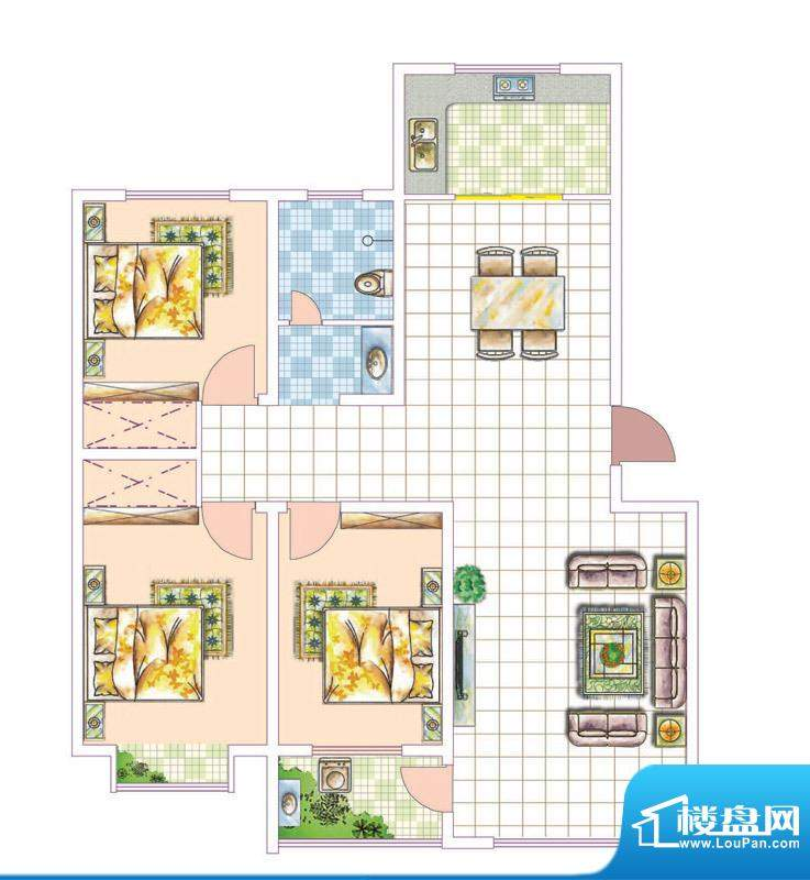 香邑城市花园户型I 面积:129.00平米