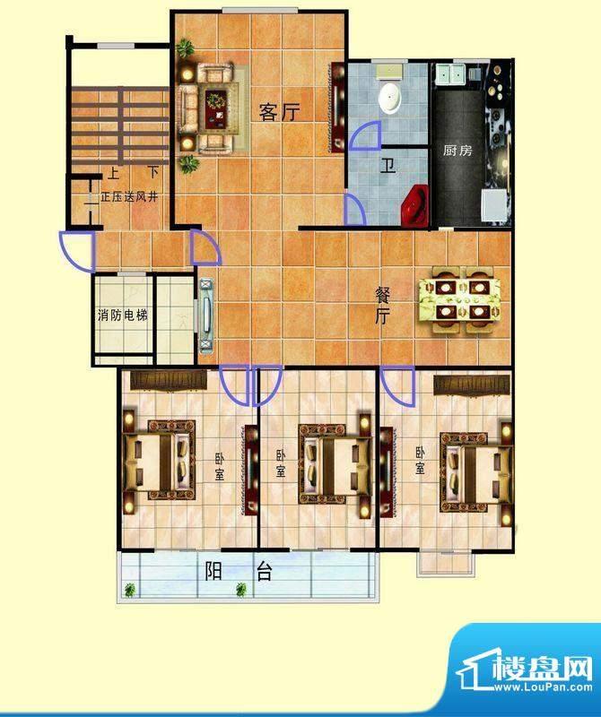 浞景翠园A4 3室2厅1面积:139.00平米