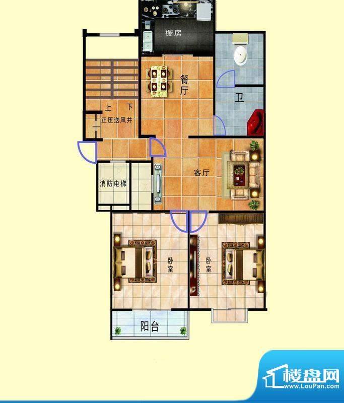 浞景翠园A3 2室2厅1面积:89.00平米