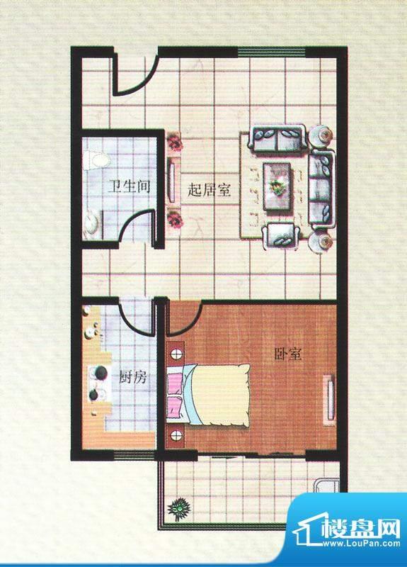 华安锦绣樱园F户型 面积:66.00平米