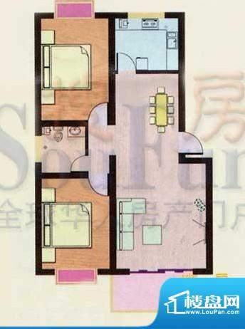 金都南苑户型图 2室面积:98.80平米