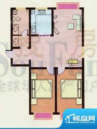 金都南苑户型图 2室面积:95.96平米