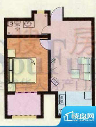 金都南苑户型图 1室面积:54.48平米