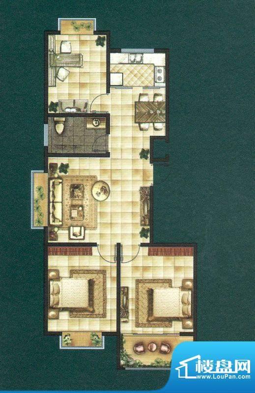 龙泽苑1号、2号、4号面积:97.00平米