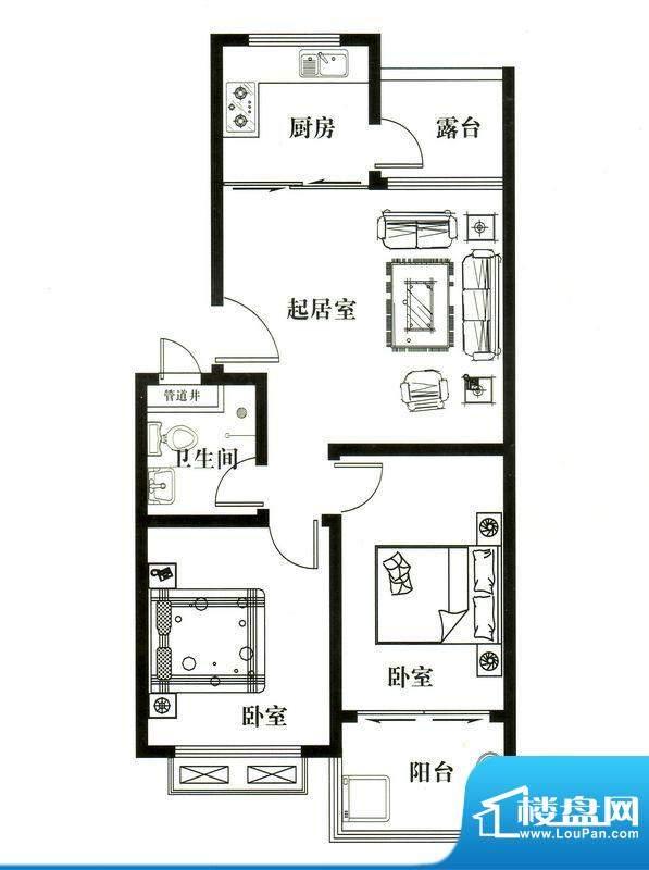 华安凤城丽景A1户型面积:80.00平米