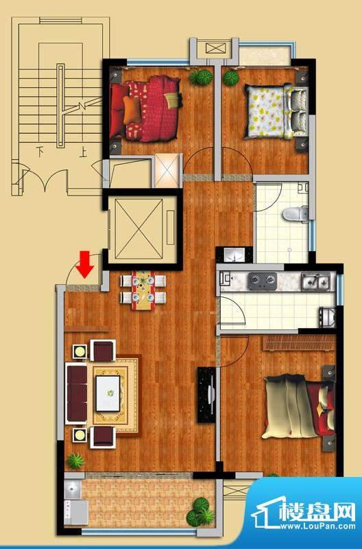 金域华府A户型图 3室面积:100.00平米