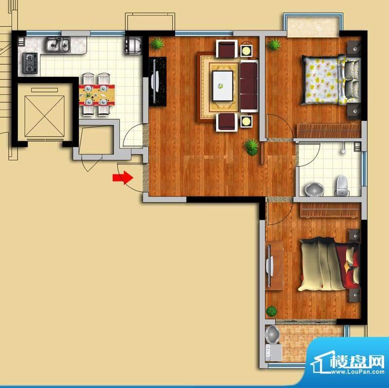 金域华府D户型图 2室面积:90.00平米