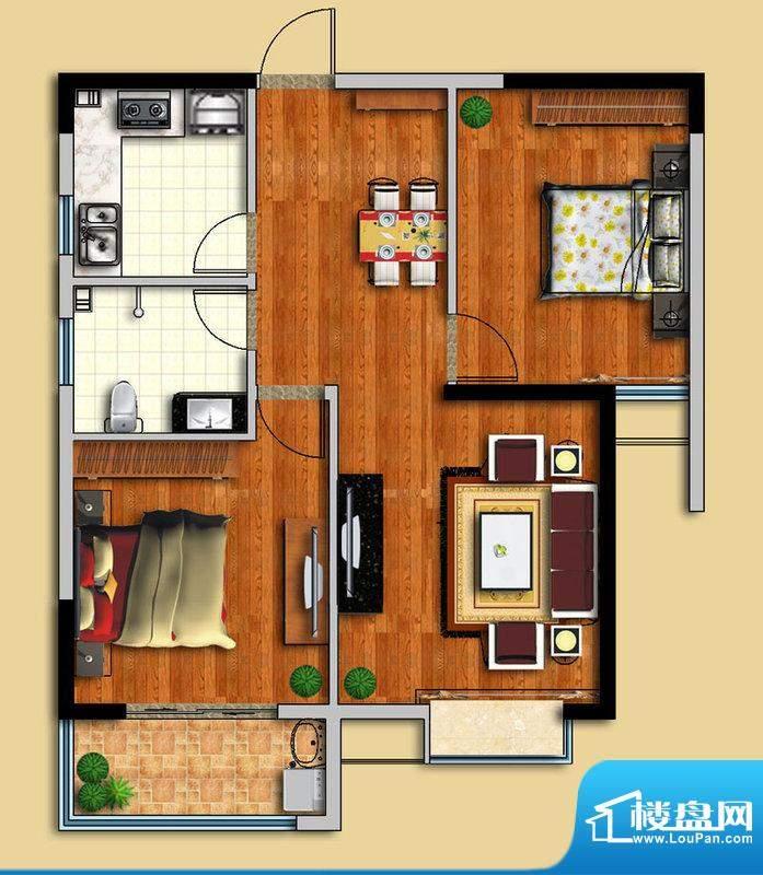 金域华府C户型图 2室面积:89.00平米