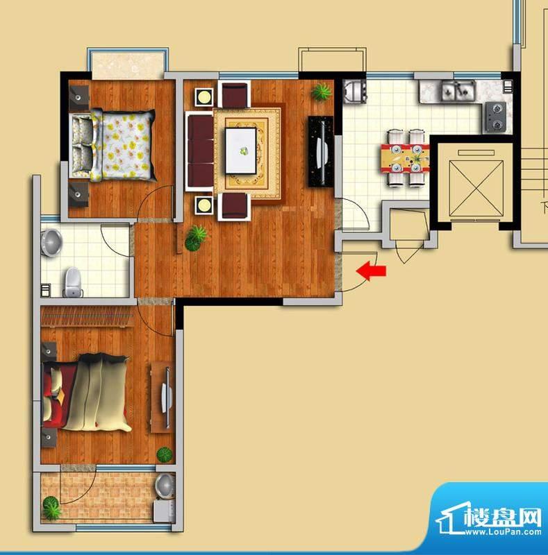 金域华府B户型图 2室面积:90.00平米