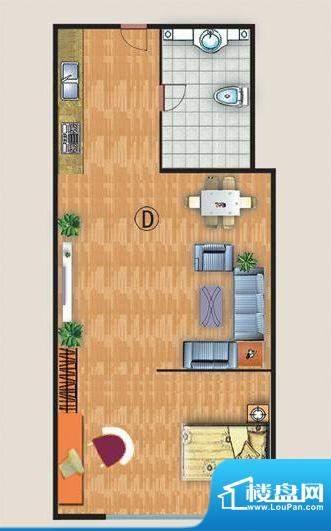 中金国际D户型 1室1面积:51.00平米