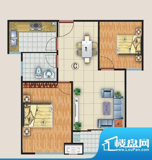 中金国际c户型 2室2面积:77.00平米