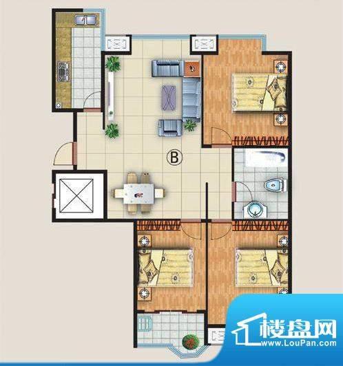 中金国际B户型 3室2面积:123.22平米