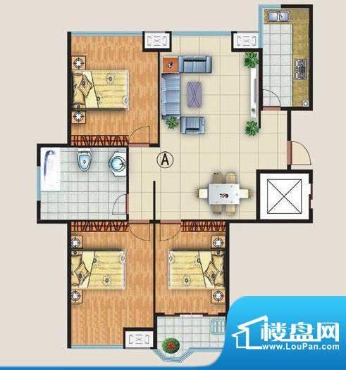 中金国际A户型 3室2面积:128.00平米