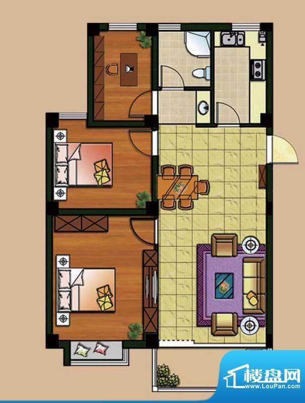 西城首府D2户型 3室面积:95.00平米
