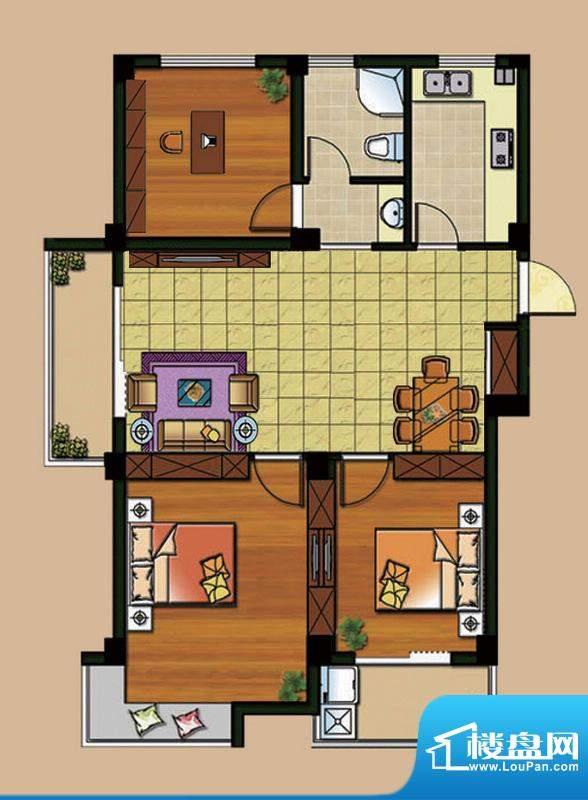 西城首府A1户型 3室面积:95.00平米