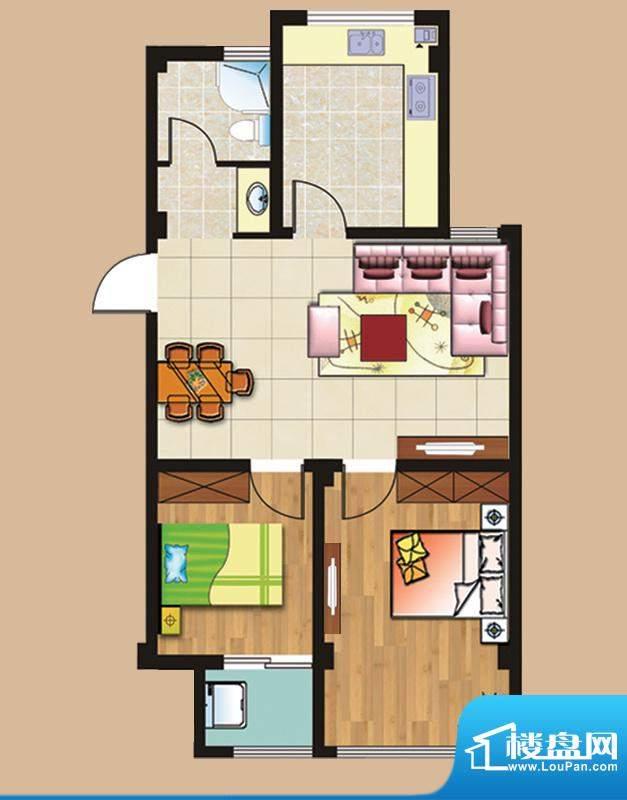 西城首府A2户型 2室面积:82.00平米