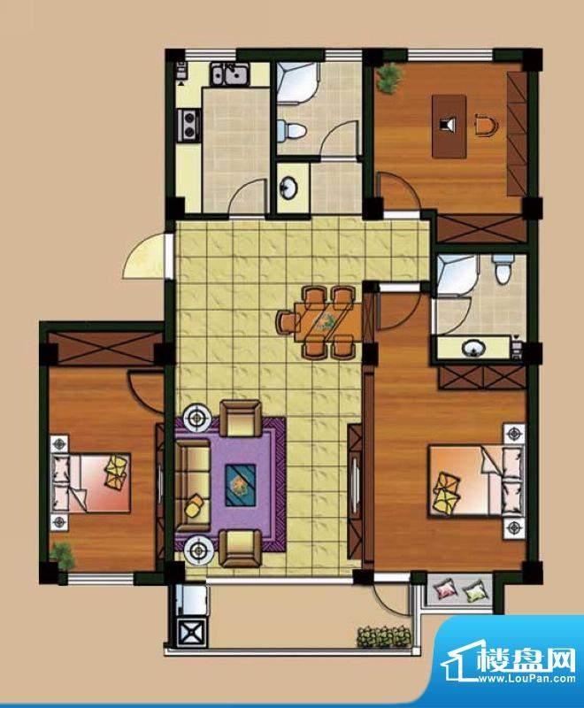 西城首府B2户型 3室面积:110.00平米