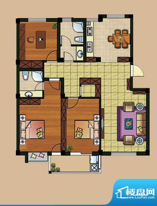 西城首府C1户型 3室面积:128.00平米