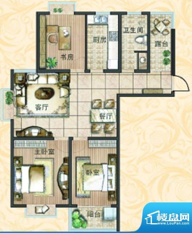 宝鼎花园C1 3室2厅1面积:121.14平米