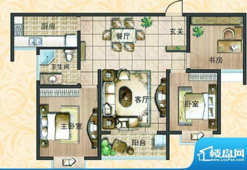 宝鼎花园B2 3室2厅1面积:121.49平米