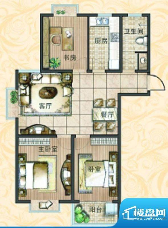 宝鼎花园B1 3室2厅1面积:115.23平米