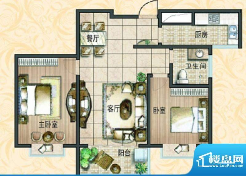 宝鼎花园A2 2室2厅1面积:94.33平米