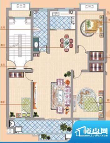 凤鸣郡户型08 3室2厅面积:132.00平米