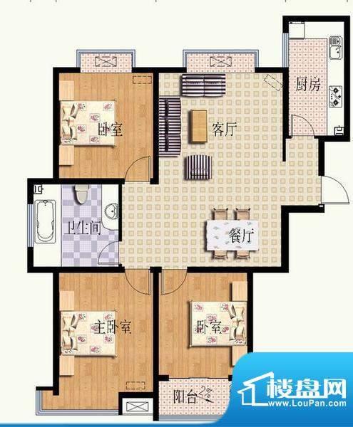 华光嘉苑3#1户型 3室面积:127.42平米