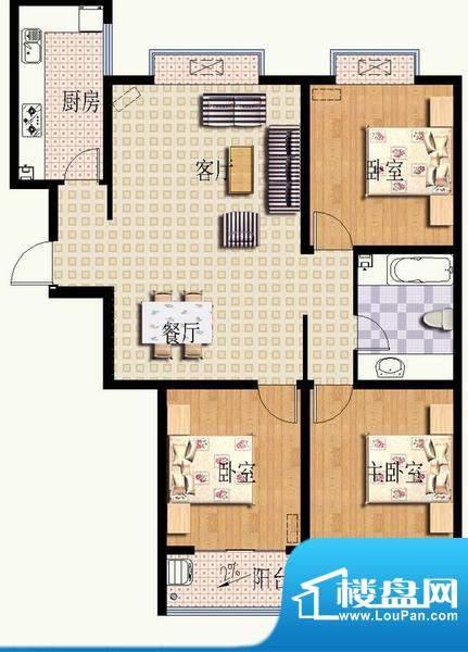 华光嘉苑3#3户型 3室面积:121.43平米