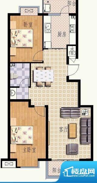 华光嘉苑4#1户型 2室面积:101.76平米
