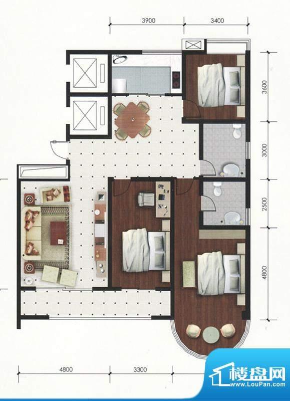 专家公寓高层住宅C户面积:179.00平米