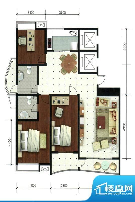专家公寓高层住宅B户面积:177.00平米