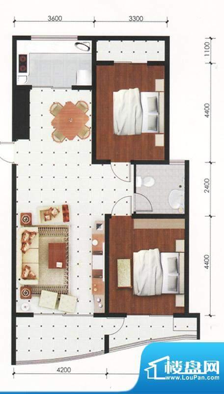 专家公寓高层住宅A户面积:123.00平米