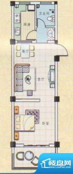 吉祥如意城1户型 1室面积:59.00平米