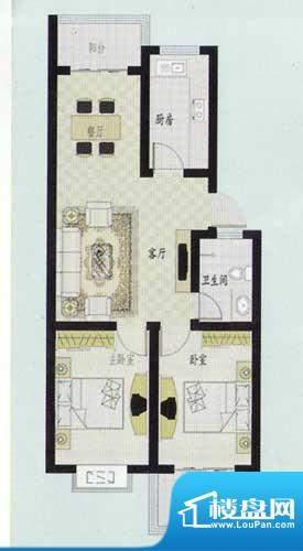 元和新城E户型 2室2面积:84.00平米