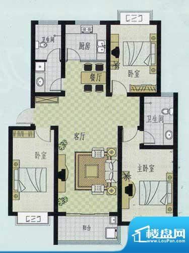 元和新城A户型 3室2面积:125.00平米