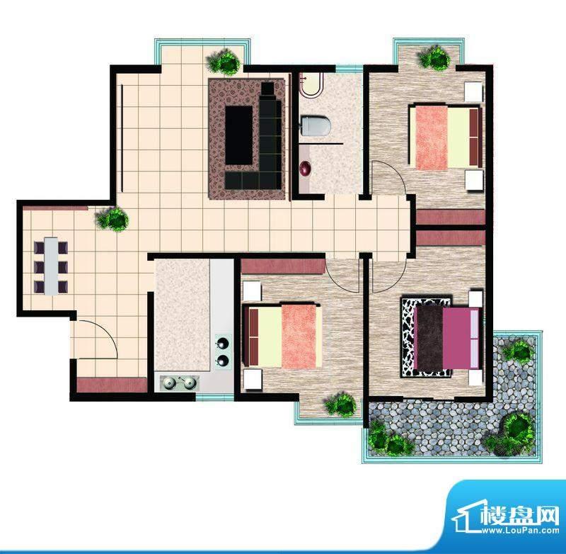 鲁鸿37°精英三室东户 3室2厅1面积:120.00平米