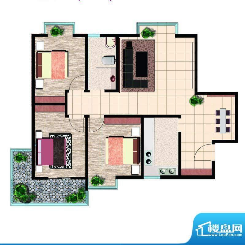 鲁鸿37°精英三室西户 3室2厅1面积:120.00平米