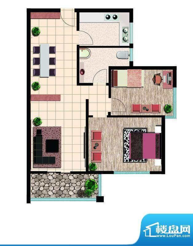 鲁鸿37°阳光两室东户 2室2厅1面积:85.00平米