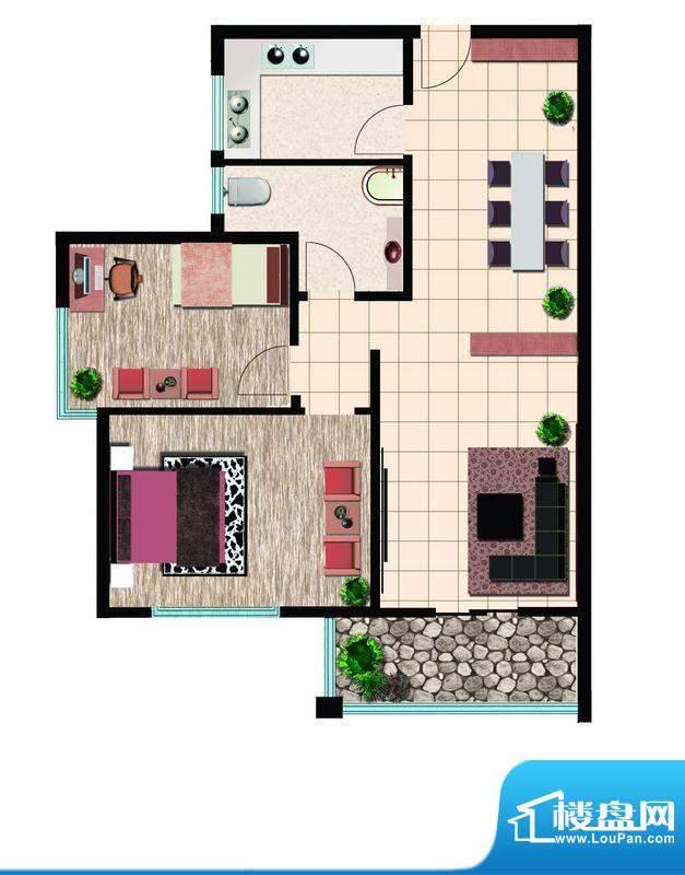 鲁鸿37°阳光两室西户 2室2厅1面积:85.00平米