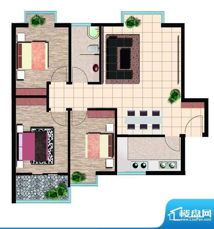 鲁鸿37°睿智三室 3室2厅1卫1厨面积:108.00平米