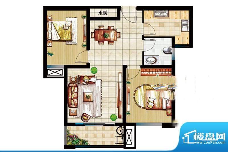 皇家半岛11号楼套二户型 2室1厅面积:85.57平米