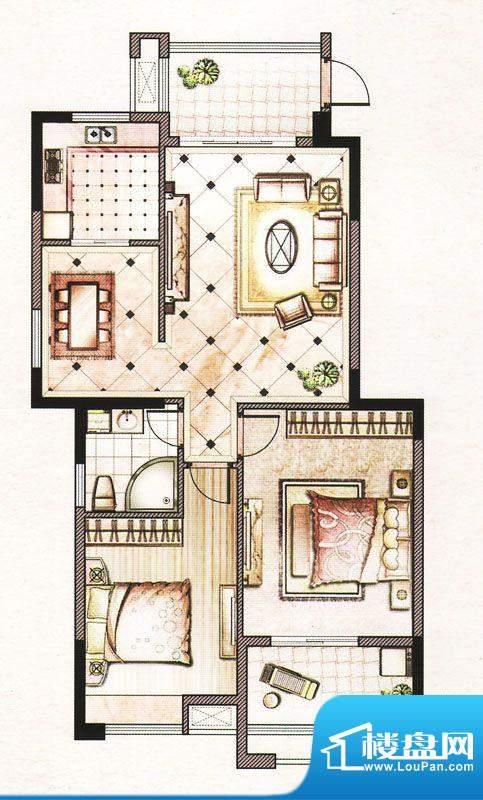 晨晟世纪城10号楼P1户型 2室2厅面积:106.12平米
