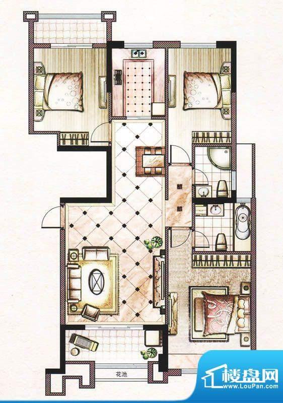 晨晟世纪城22号楼X户型 3室2厅面积:104.85平米