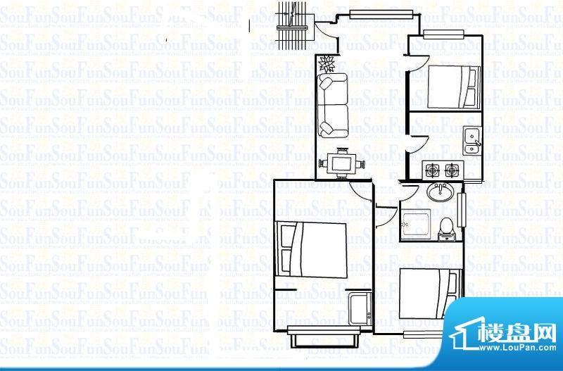 晨晟世纪城16号楼3室2厅1卫户型面积:107.00平米