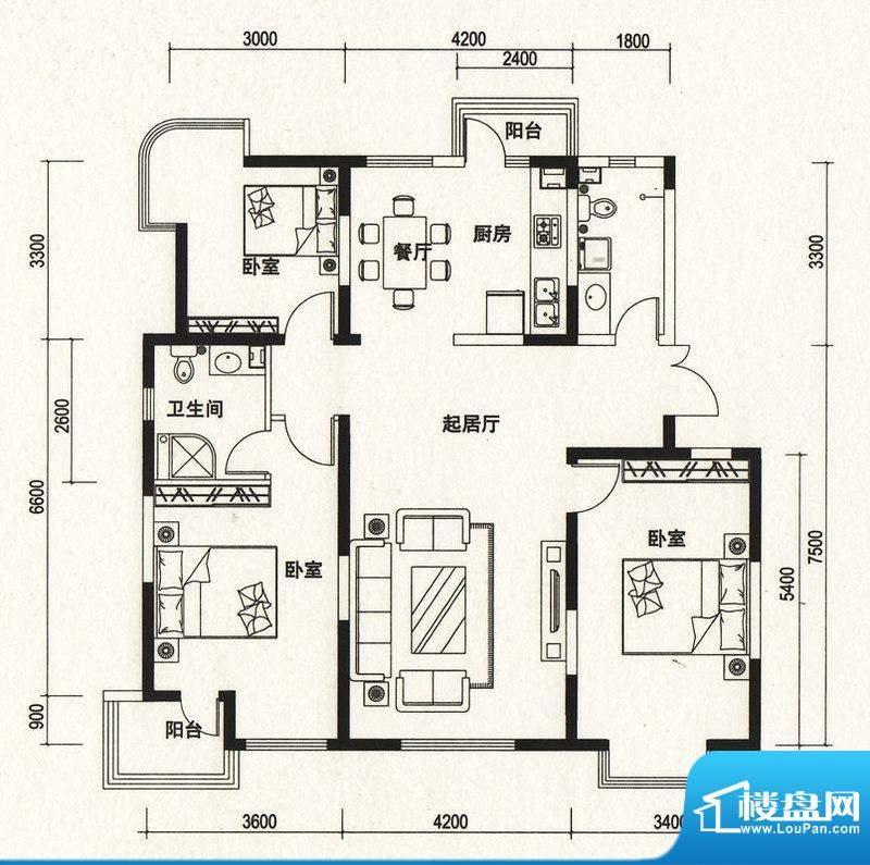 潍京C户型 3室2厅2卫1厨面积:153.68平米