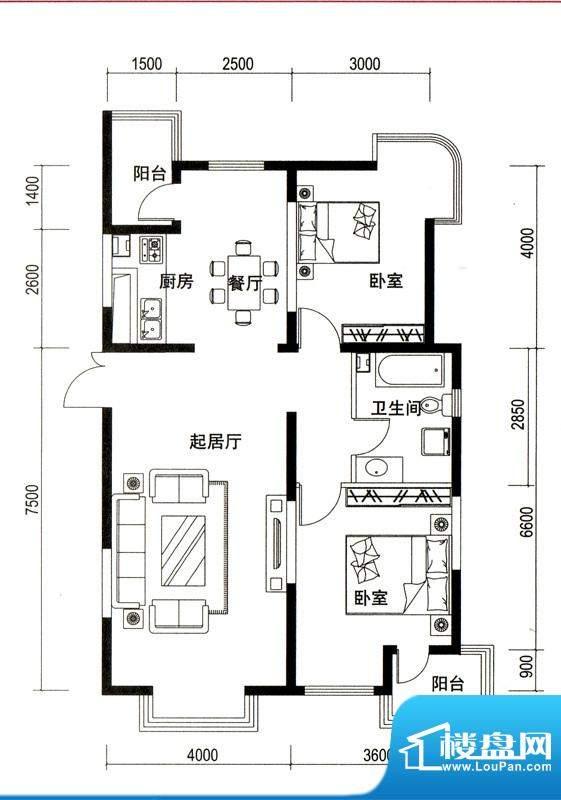 潍京D户型 2室2厅1卫1厨面积:121.50平米