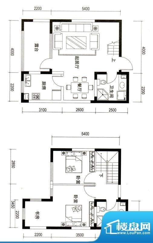 潍京E户型 2室2厅2卫1厨面积:105.54平米