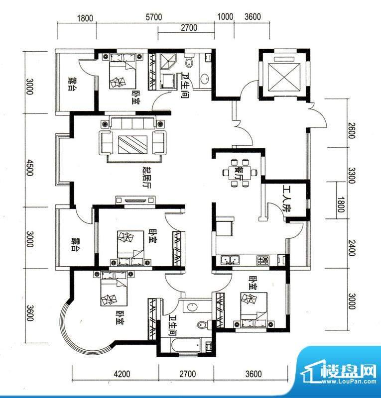 潍京F户型 4室2厅2卫1厨面积:180.88平米